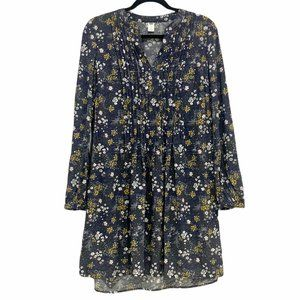 Old Navy Floral Long Sleeve Shift Dress Grey Small